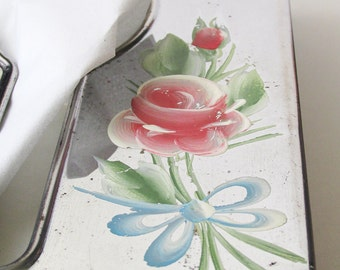 1940s-50s Tissue Box Dispenser with hand painted flowers on Chrome /wall hanging or table top