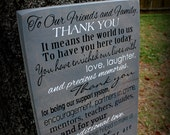 "Thank You Wedding Sign - 12"" x 24"" Made to Order Custom Wedding Sign"