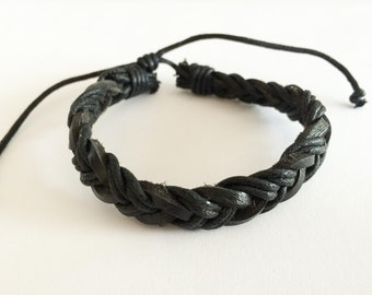 Double Brown hemp cord braided with Black leather Bracelet