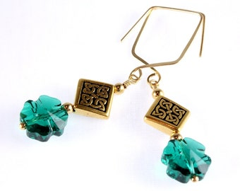 St. Patrick's Day Earrings, Swarovski Crystal Four Leaf Clover
