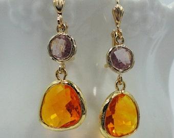 Earrings Tangerine Orange Lilac Purple Glass Stones old hollywood weddings bridal elegant antiqued vintage style