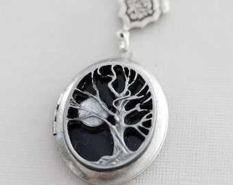 Locket  Necklace,Tree of life,Jewelry,Love you to the moon,Silver Locket,Leaf,Tree,Antique Style,Locket Necklace,Wedding Necklace