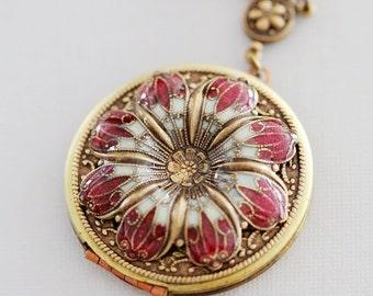 Red Poppy Locket,Jewelry,Necklace,Pendant, Resin,Enameled Necklace,photo locket  - vintage style brass filigree locket,Wedding