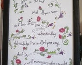 Scripture art print typography Psalm 3 Trust in the Lord 8.5x11 Christian wall art