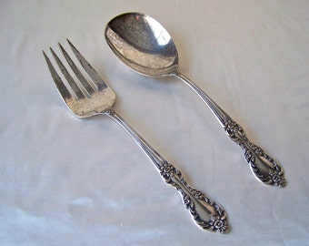 Vintage Serving Fork and Spoon WM Rogers Silver Plate Serving Fork and Spoon Dessert Server 1940s
