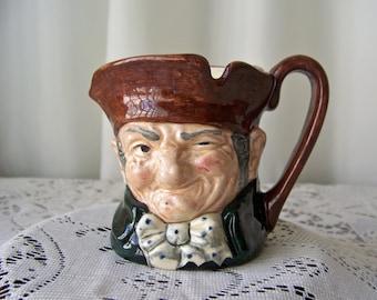 Vintage Royal Doulton Old Charley Character Jug Creamer Toby Jug Miniature Mug Creamer Man Cave Pub Barware Vintage 1960s