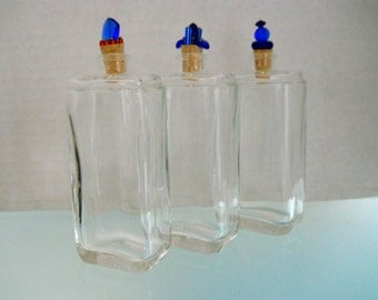 Glass Bottle Trio With Glass Bead/Cork Stoppers