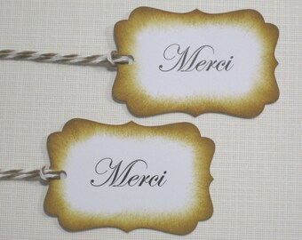 10 Thank You Favor Tags Merci Favor Tags  Paris Theme Wedding Favor Tags  Bridal Shower Favor Tags  Baby Shower Favor Tags Tea Party Favors