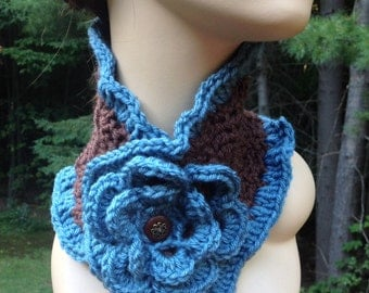 Blue and Brown Ruffle Flower Scarf