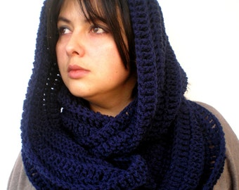 Navy Dark Blue Scarf Crocheted mixed Wool Scarf Woman Circle Scarf Circle Scarf