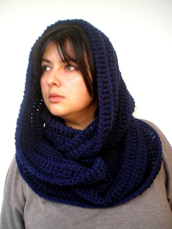 Navy Dark Blue Scarf Crocheted mixed Wool Scarf Woman Circle Scarf Circle Scarf