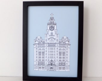 Liver Building, Liverpool, Liverpool drawing, art print, Blue Picture, Liverpool Print, Picture of Liverpool, England
