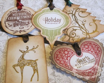 Christmas Tags/Ornaments Variety Pack - Vintage Appearance - Set of 10