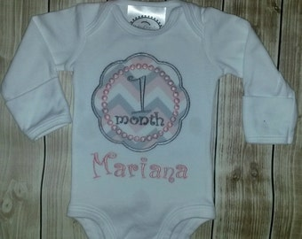 Newborn, Infant and Baby Monthly applique bodysuits for Girls and Boys