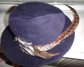 SALE Navy Fur Felt Wide Brim Hat With Feather by GEORGI