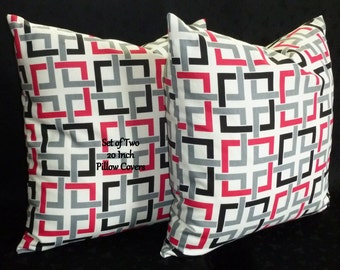 Pillows,Throw Pillows, Pillow Covers, Decorative Pillows, Toss Pillows -   Set of Two 20 Inch - Black, White, and Hot Pink
