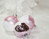 Delightful White Snow Scene - Collection of 3 Mini Pale Pink Hand Painted Christmas Balls with Glittering White Snow, Great Christmas Gift