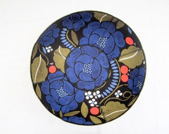 Marimekko Sonja fabric bowl black and blue oranges white flowers gold leaves