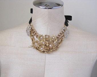 Vintage Jewelry Statement Rhinestone One Of A Kind Necklace Rhinestone Bib Floral Flower Gold