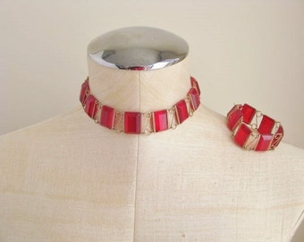 Art Deco Necklace Bracelet Lucite Red Vintage Choker Bracelet