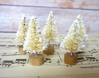 Bottle Brush Christmas Trees natural ivory table decor set of 5 mini