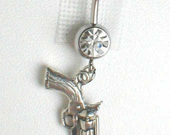 Unique Belly Ring - Sterling Silver Six Shooter Gun