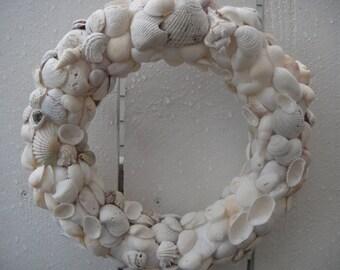 Sea Shell Wreath   Beach Decor  Sea Shore Home Decor  White Sea Shells  Wedding Wreath  Beach Wedding Decor  Nautical Wreath
