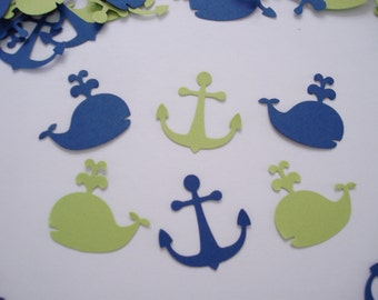 Navy and lime green whale and anchor confetti, 100  cardstock punches for party decorations, scrapbook embellishments