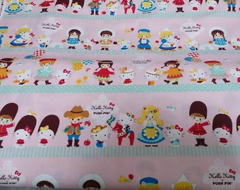 Half price Hello kitty  with Small world printed light pink colour One yard