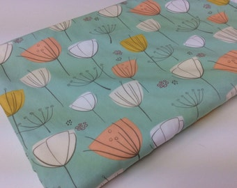 Minky Baby Blanket, Baby Girl, Modern Flowers, Mint Green, Coral, Orange, Grey, Choose White or Grey Minky Dot