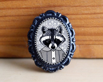 raccoon pin - animal brooch - black and white victorian style portrait