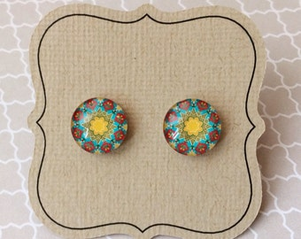 Moroccan style earrings, looks like colorful tiles, titanium posts for sensitive ears