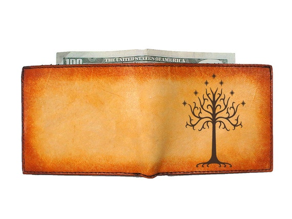 Bi Fold Leather Wallet - Tree of Gondor - Customizable - Free Personalization