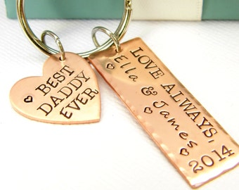 Personalized Keychain - Personalized Father's Gift - Dad's Keychain - Father's Birthday Gift - Mens Gift - Dads Personalized Keychain - Dads