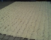 Vintage Off White Medium Weight Chenille Fabric Piece 19x26 inches
