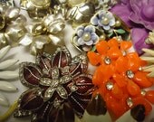 Reserved karen Vintage Brooch Lot  Flowers Enamel Beaded Earrings Sets Signed Wedding Bouquet Jewelry