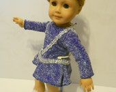 Ice dance figure skating dress w skates silver royal blue color American Girl doll clothes and 18 inch hand made