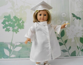 ... inch dolls like American Girl Graduation cap and gown handmade white