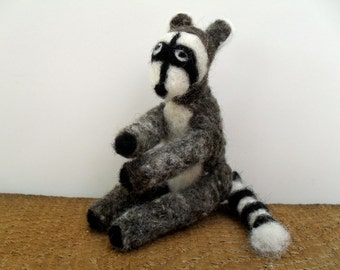 Needle felted raccoon, felted animal figure