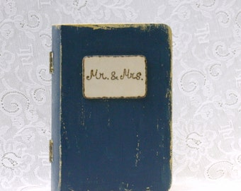 ring box wedding ring box alternative pillow ring book navy and gold color