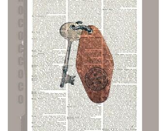 Old hotel key - ORIGINAL ARTWORK  printed on Repurposed Vintage Dictionary page -Upcycled Book Print