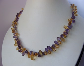 Amethyst and Citrine 925 Sterling Silver Necklace