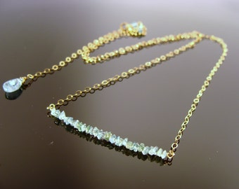 Genuine Blue Raw Rough Diamond 14k Gold Filled or Solid 14K Gold Necklace
