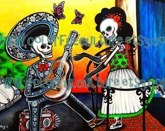 """Mariposas en el Estomago -Butterfiles in the Stomach -Art by Karina Gomez -Print on Fade Free Paper 8.5""""x11"""" or 11""""x17"""" Dia de los Muertos"""