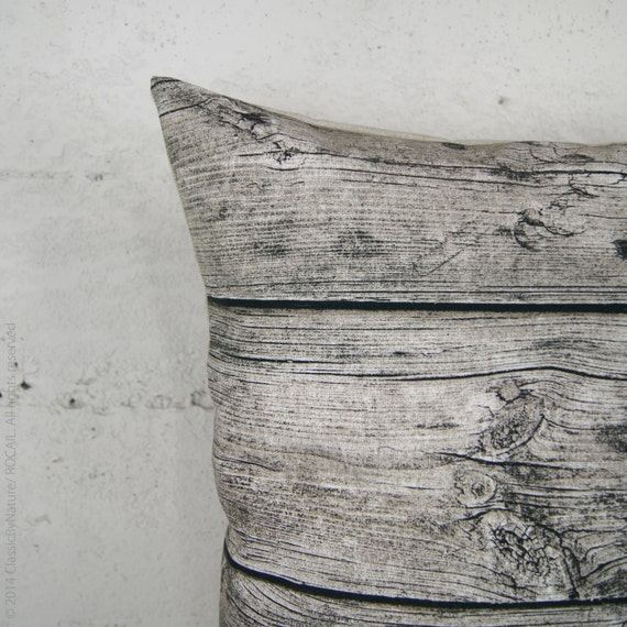 Barnwood Decorative Pillow Cover in 16x16 inches, Wood Grain Cushion cover, Drift Wood Pillow Case In Gray, Beige and Black For Urban Decor