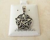 Vintage Pentagram/Pentacle Sterling Silver Pendant with celtic design