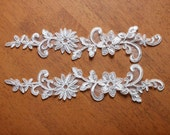 Ivory Alencon Lace Appliques Floral Embroidered Patches For Wedding Supplies Bridal Hair Flower Headpiece 1 Pair