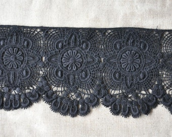 Black Cotton Embroidered Lace Retro Hollow out Lace Trim 4.7 Inches Wide 1 yard