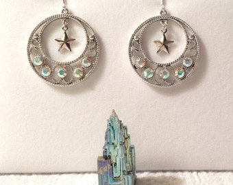 "Clear AB Crystal ""Go-Go"" Earrings with Star"