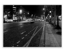 """Paris Photography, Paris Decor, Paris photos, streets of Paris, night - """"Champs Elysees"""" - Fine Art Photograph B&W"""